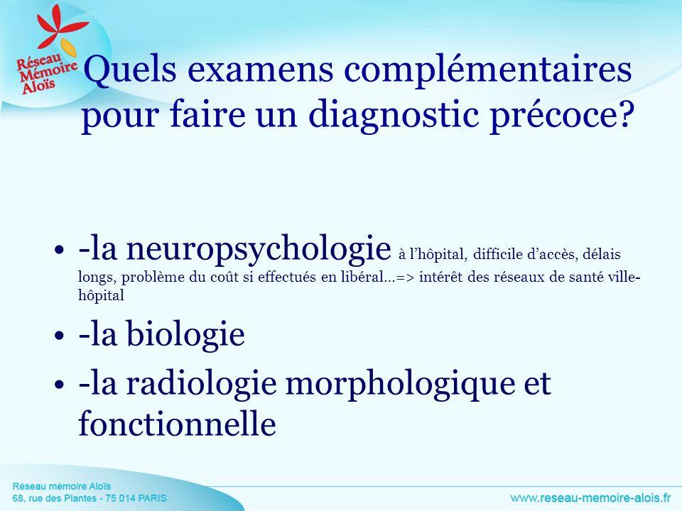 Quels examens complémentaires pour faire un diagnostic précoce? -la neuropsychologie à lhôpital, difficile daccès, délais longs, problème du coût si e