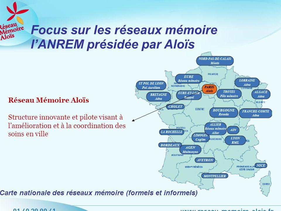 Focus sur les réseaux mémoire lANREM présidée par Aloïs Réseau Mémoire Aloïs Structure innovante et pilote visant à lamélioration et à la coordination