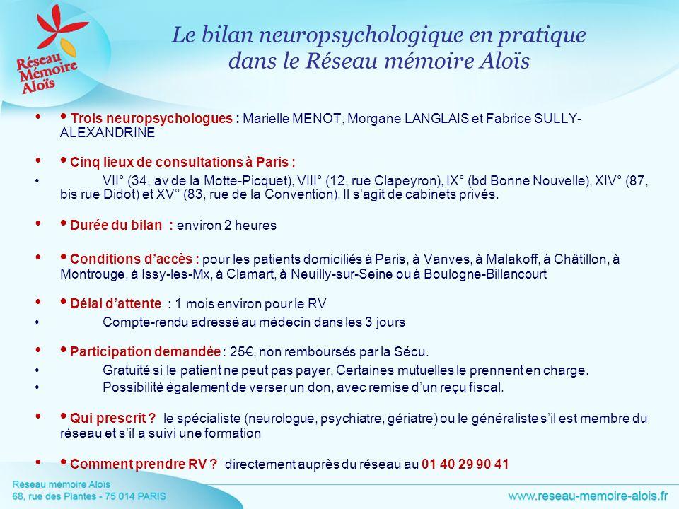 Trois neuropsychologues : Marielle MENOT, Morgane LANGLAIS et Fabrice SULLY- ALEXANDRINE Cinq lieux de consultations à Paris : VII° (34, av de la Mott