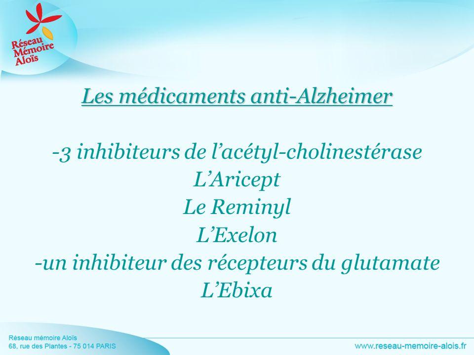 Les médicaments anti-Alzheimer -3 inhibiteurs de lacétyl-cholinestérase LAricept Le Reminyl LExelon -un inhibiteur des récepteurs du glutamate LEbixa