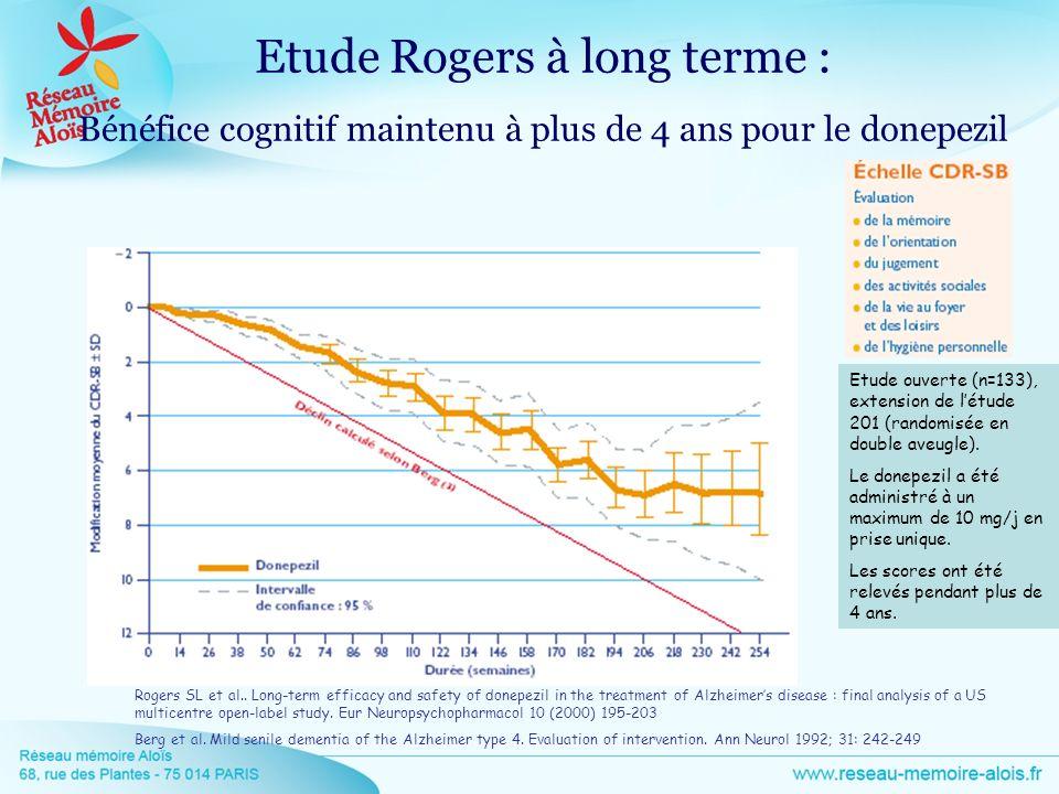 Etude Rogers à long terme : Bénéfice cognitif maintenu à plus de 4 ans pour le donepezil Rogers SL et al.. Long-term efficacy and safety of donepezil