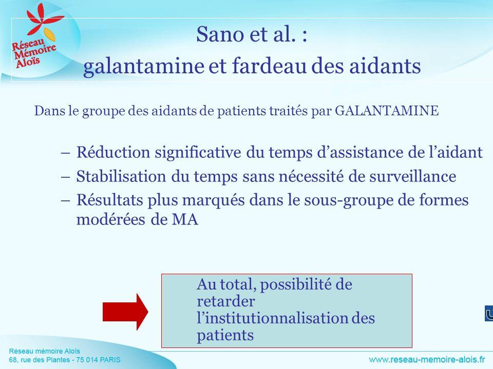 Dans le groupe des aidants de patients traités par GALANTAMINE –Réduction significative du temps dassistance de laidant –Stabilisation du temps sans n