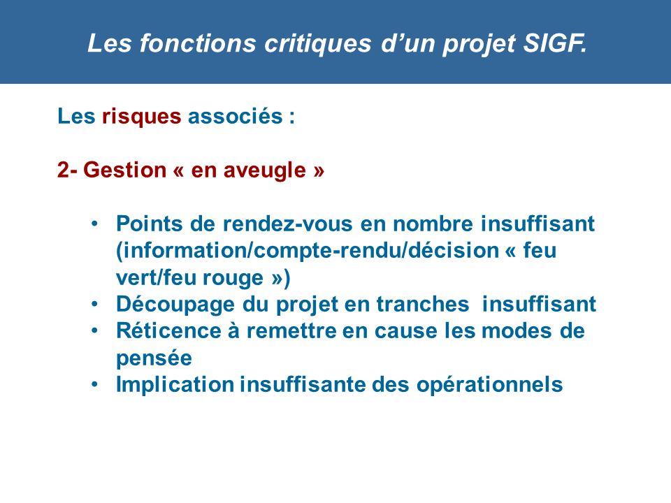 Les fonctions critiques dun projet SIGF. Les risques associés : 2- Gestion « en aveugle » Points de rendez-vous en nombre insuffisant (information/com