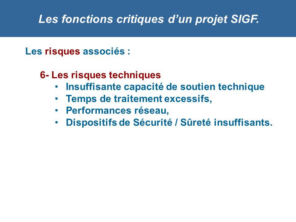 Les fonctions critiques dun projet SIGF. Les risques associés : 6- Les risques techniques Insuffisante capacité de soutien technique Temps de traiteme