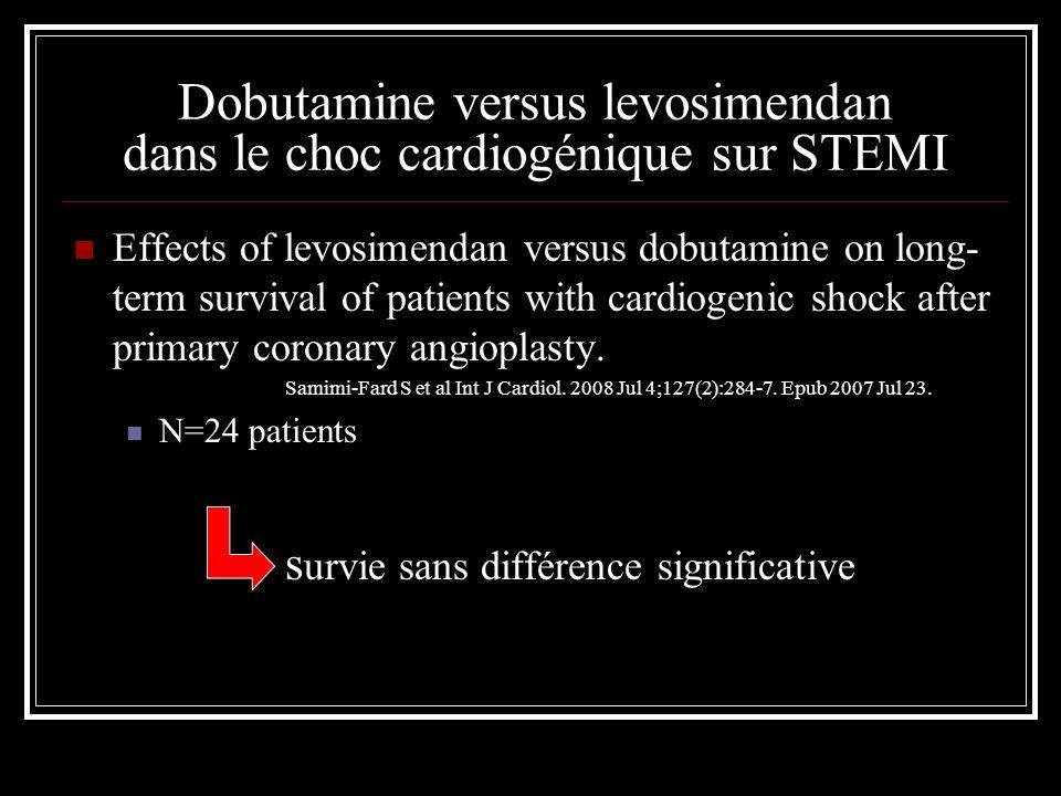 Dobutamine versus levosimendan dans le choc cardiogénique sur STEMI Effects of levosimendan versus dobutamine on long- term survival of patients with