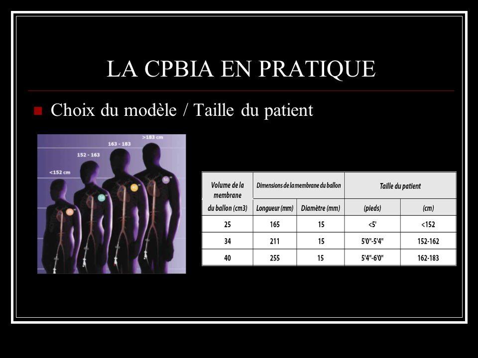 LA CPBIA EN PRATIQUE Choix du modèle / Taille du patient
