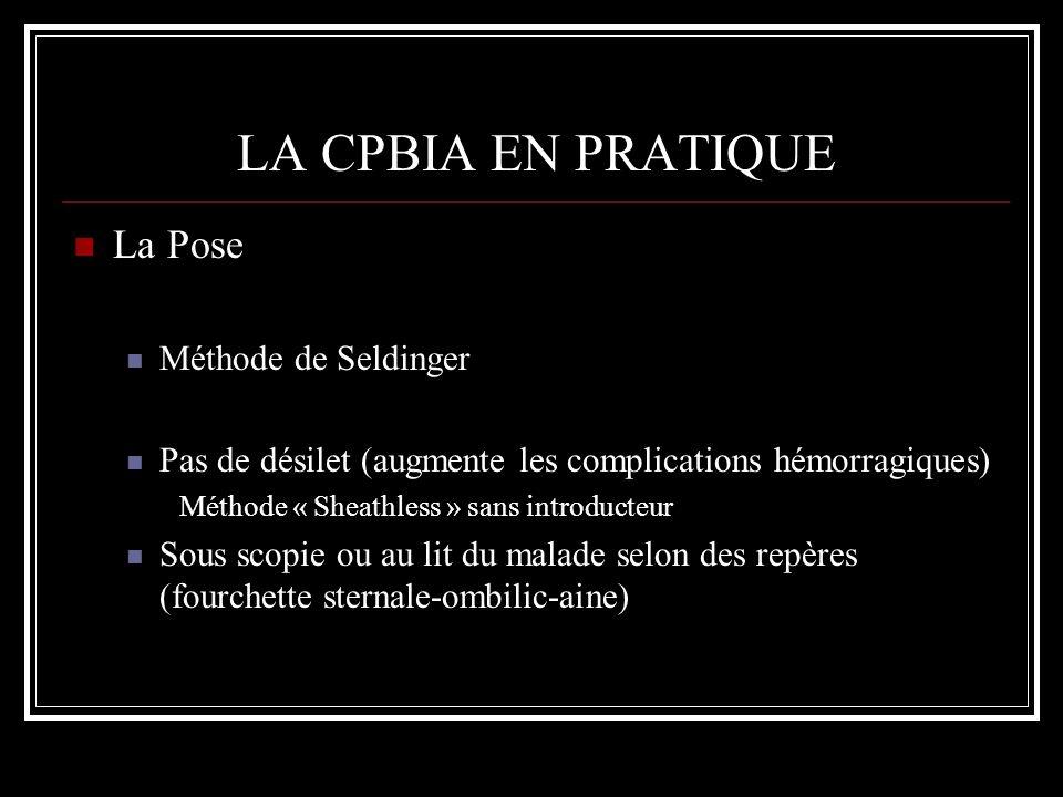 LA CPBIA EN PRATIQUE La Pose Méthode de Seldinger Pas de désilet (augmente les complications hémorragiques) Méthode « Sheathless » sans introducteur S