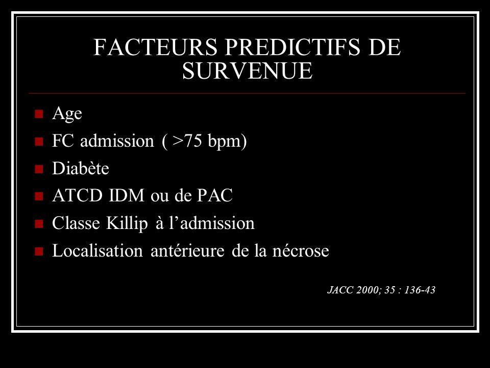 FACTEURS PREDICTIFS DE SURVENUE Age FC admission ( >75 bpm) Diabète ATCD IDM ou de PAC Classe Killip à ladmission Localisation antérieure de la nécros