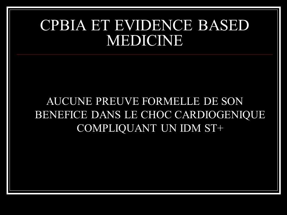 CPBIA ET EVIDENCE BASED MEDICINE AUCUNE PREUVE FORMELLE DE SON BENEFICE DANS LE CHOC CARDIOGENIQUE COMPLIQUANT UN IDM ST+