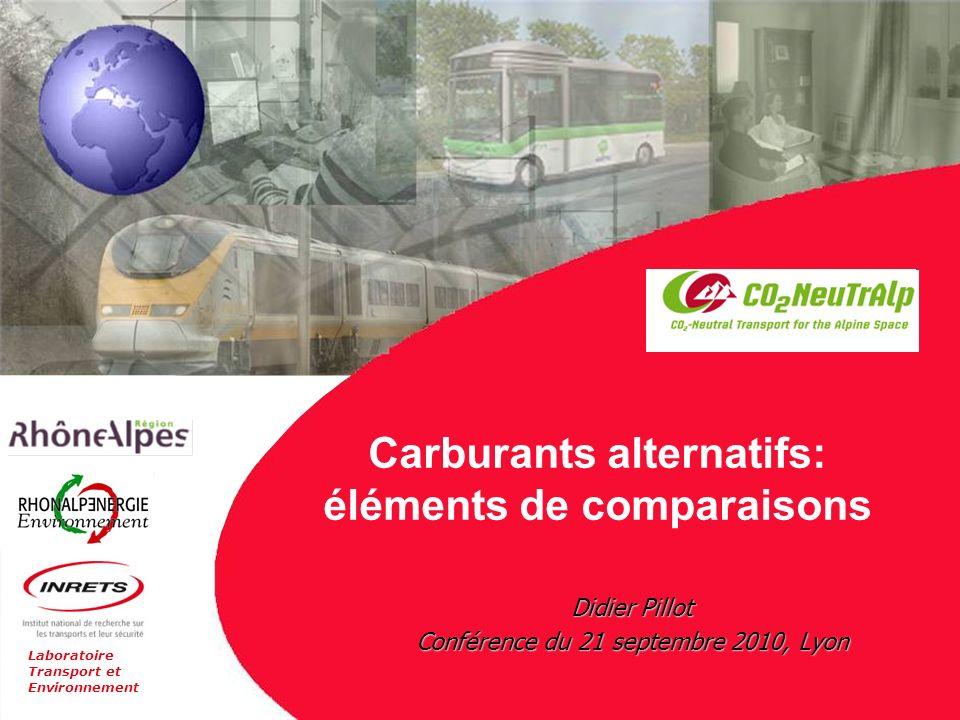 Laboratoire Transport et Environnement Carburants alternatifs: éléments de comparaisons Didier Pillot Conférence du 21 septembre 2010, Lyon
