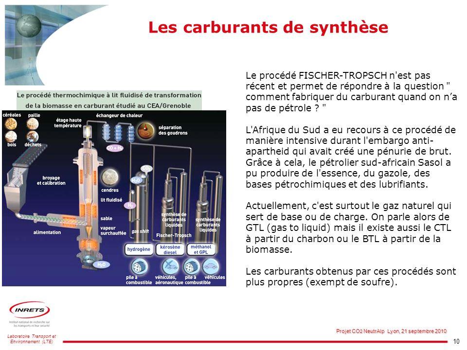 10 Laboratoire Transport et Environnement (LTE) Projet CO 2 NeutrAlp Lyon, 21 septembre 2010 Les carburants de synthèse Le procédé FISCHER-TROPSCH n'e