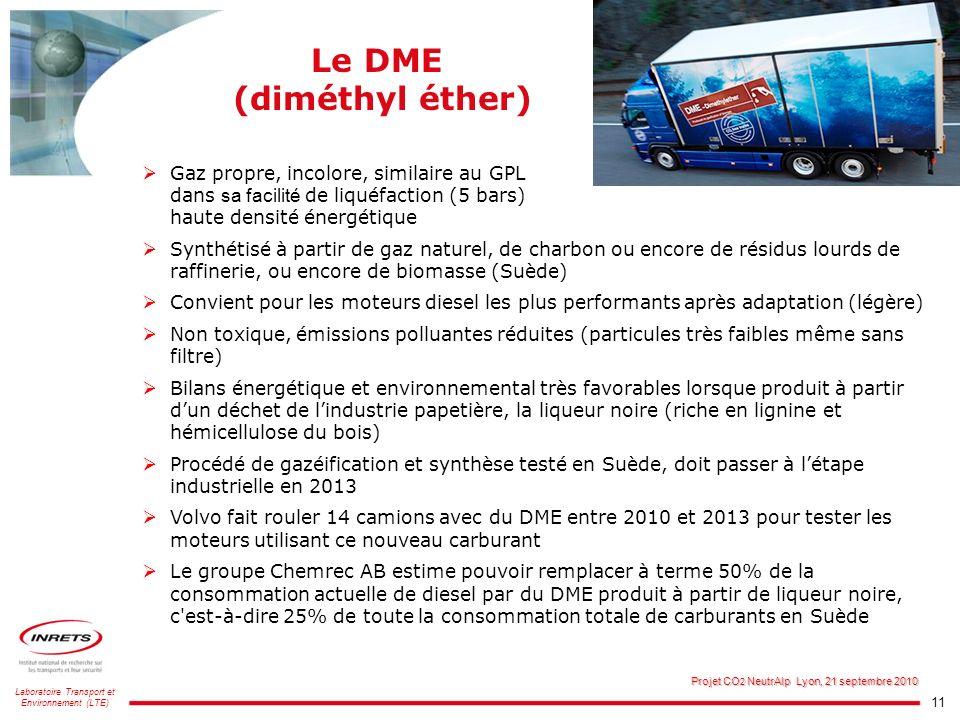 11 Laboratoire Transport et Environnement (LTE) Projet CO 2 NeutrAlp Lyon, 21 septembre 2010 Le DME (diméthyl éther) Gaz propre, incolore, similaire a