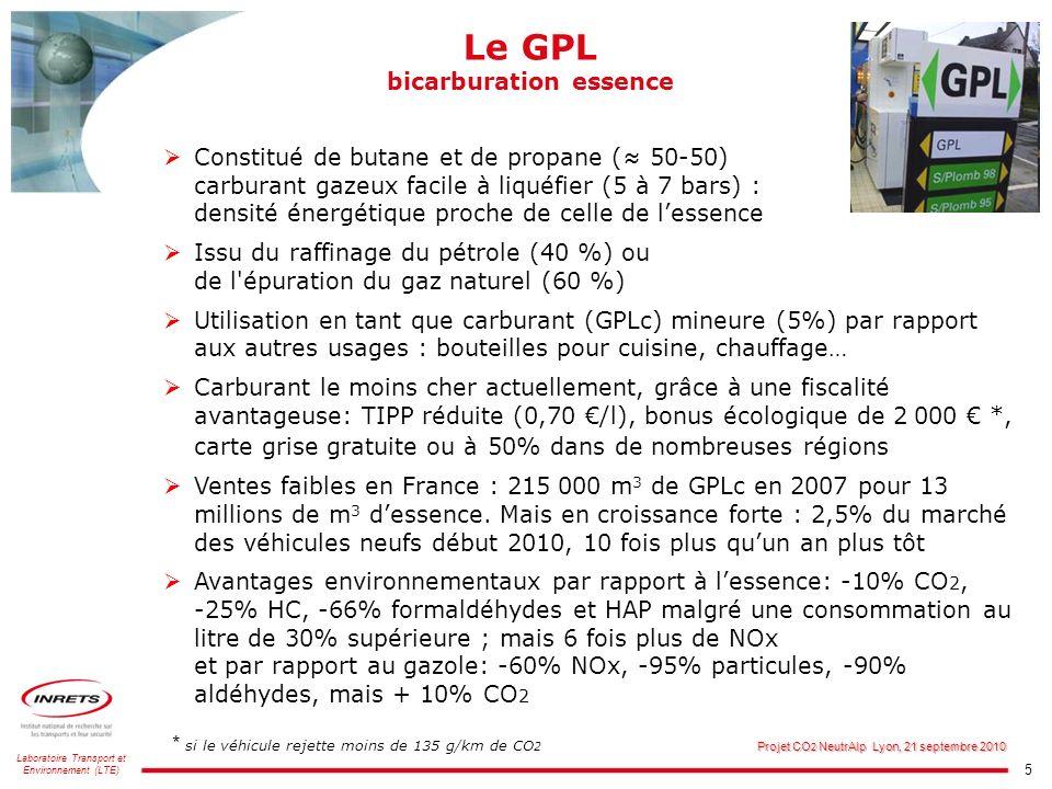 5 Laboratoire Transport et Environnement (LTE) Projet CO 2 NeutrAlp Lyon, 21 septembre 2010 Le GPL bicarburation essence Constitué de butane et de pro