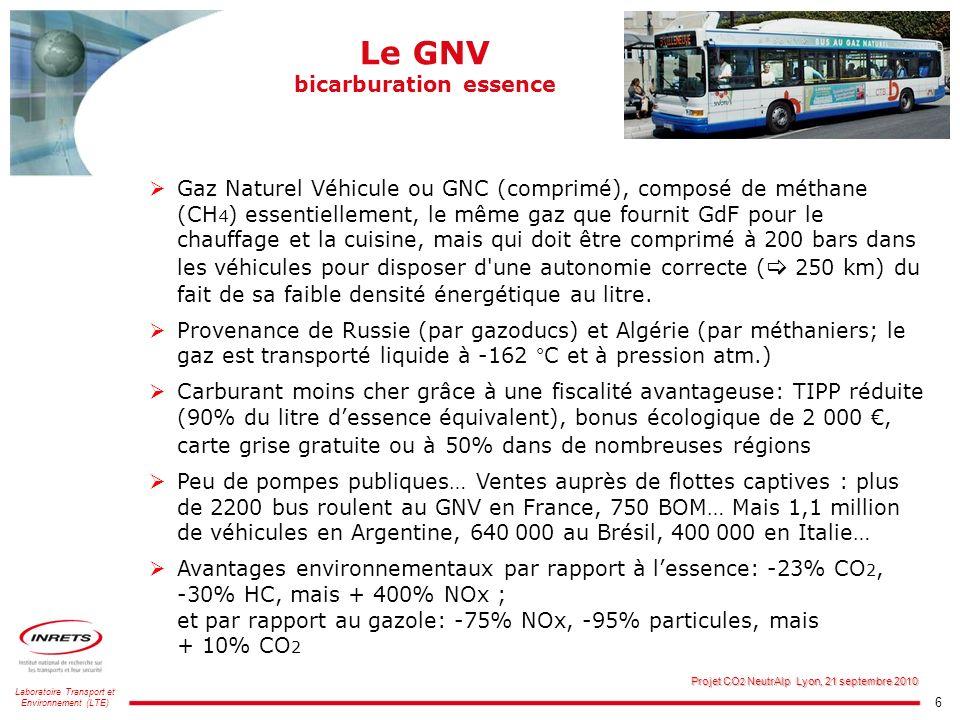 6 Laboratoire Transport et Environnement (LTE) Projet CO 2 NeutrAlp Lyon, 21 septembre 2010 Le GNV bicarburation essence Gaz Naturel Véhicule ou GNC (