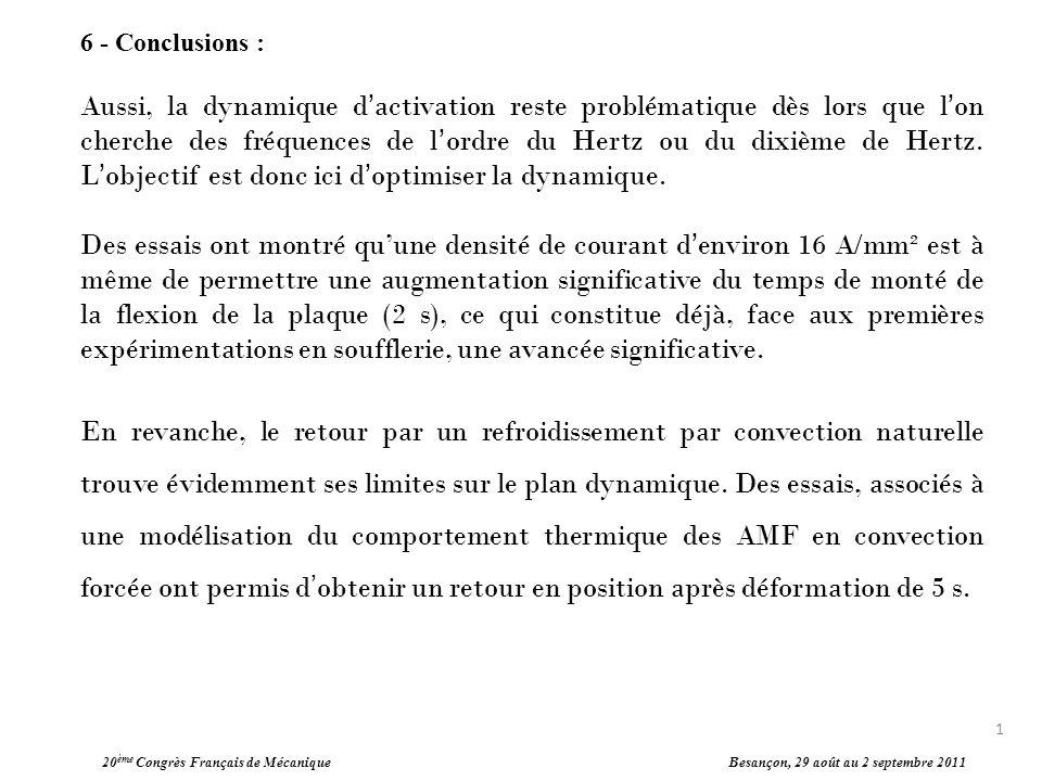 20 ème Congrès Français de Mécanique Besançon, 29 août au 2 septembre 2011 6 - Conclusions : Aussi, la dynamique dactivation reste problématique dès l