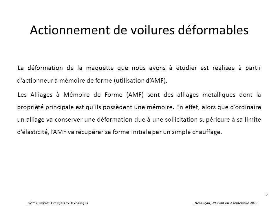 Actionnement de voilures déformables La déformation de la maquette que nous avons à étudier est réalisée à partir dactionneur à mémoire de forme (util