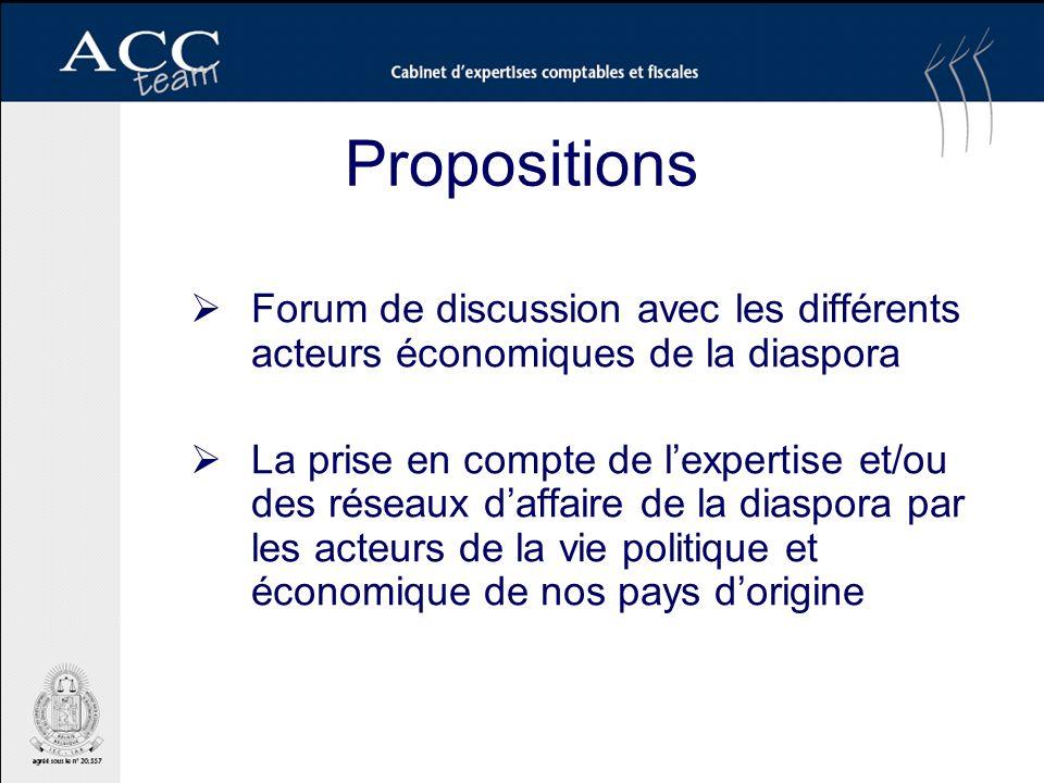 Propositions Forum de discussion avec les différents acteurs économiques de la diaspora La prise en compte de lexpertise et/ou des réseaux daffaire de la diaspora par les acteurs de la vie politique et économique de nos pays dorigine