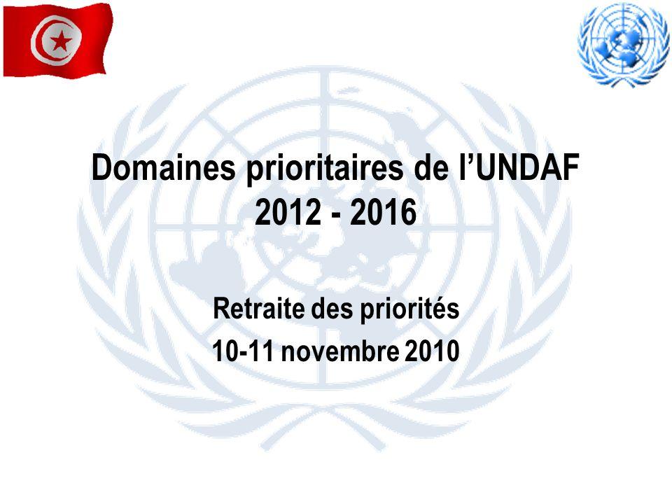 Domaines prioritaires de lUNDAF 2012 - 2016 Retraite des priorités 10-11 novembre 2010