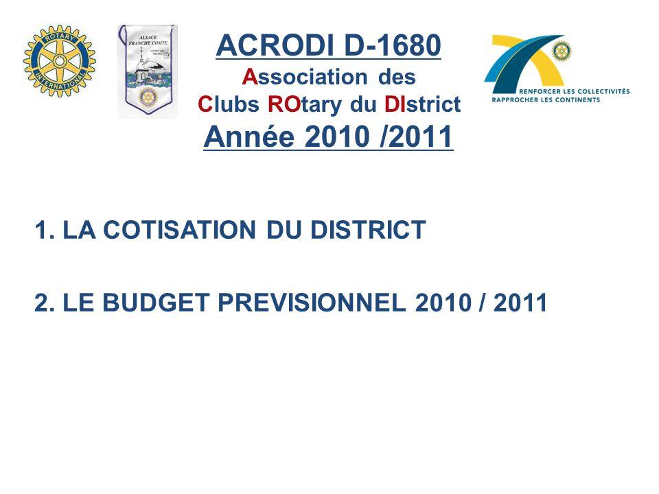 ACRODI D-1680 Association des Clubs ROtary du DIstrict Année 2010 /2011 1.