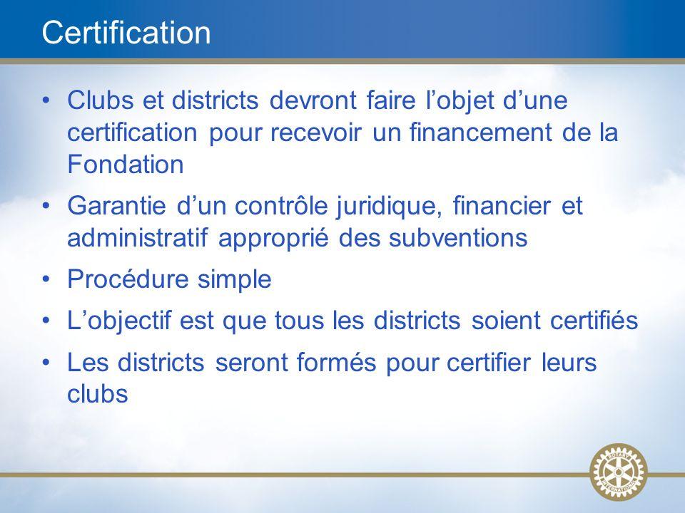 13 Certification Clubs et districts devront faire lobjet dune certification pour recevoir un financement de la Fondation Garantie dun contrôle juridiq
