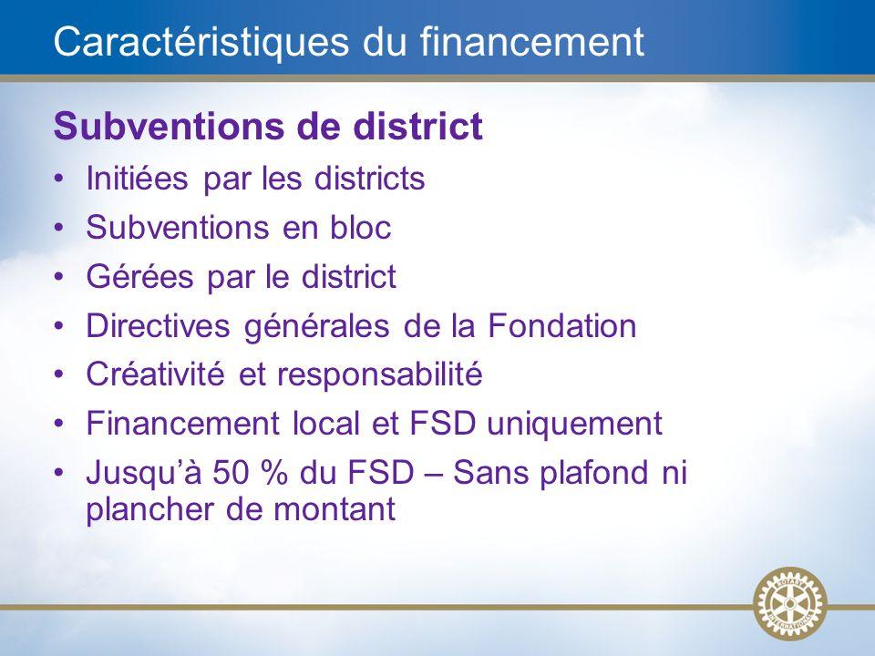 19 Caractéristiques du financement Subventions de district Initiées par les districts Subventions en bloc Gérées par le district Directives générales