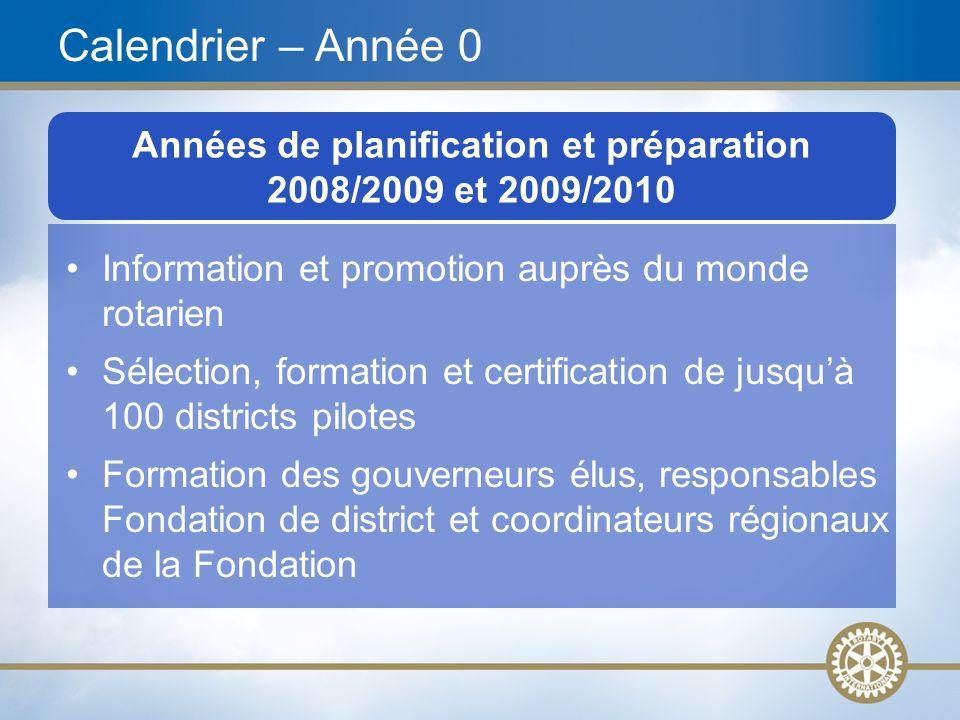 21 Années de planification et préparation 2008/2009 et 2009/2010 Calendrier – Année 0 Information et promotion auprès du monde rotarien Sélection, for