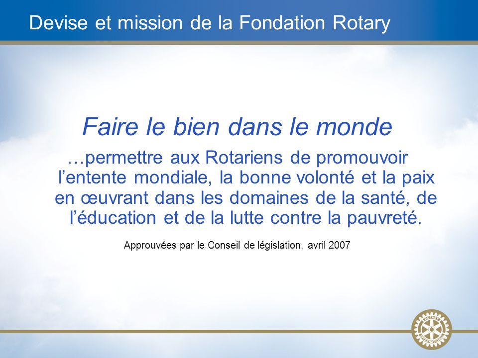 6 Devise et mission de la Fondation Rotary Faire le bien dans le monde …permettre aux Rotariens de promouvoir lentente mondiale, la bonne volonté et l