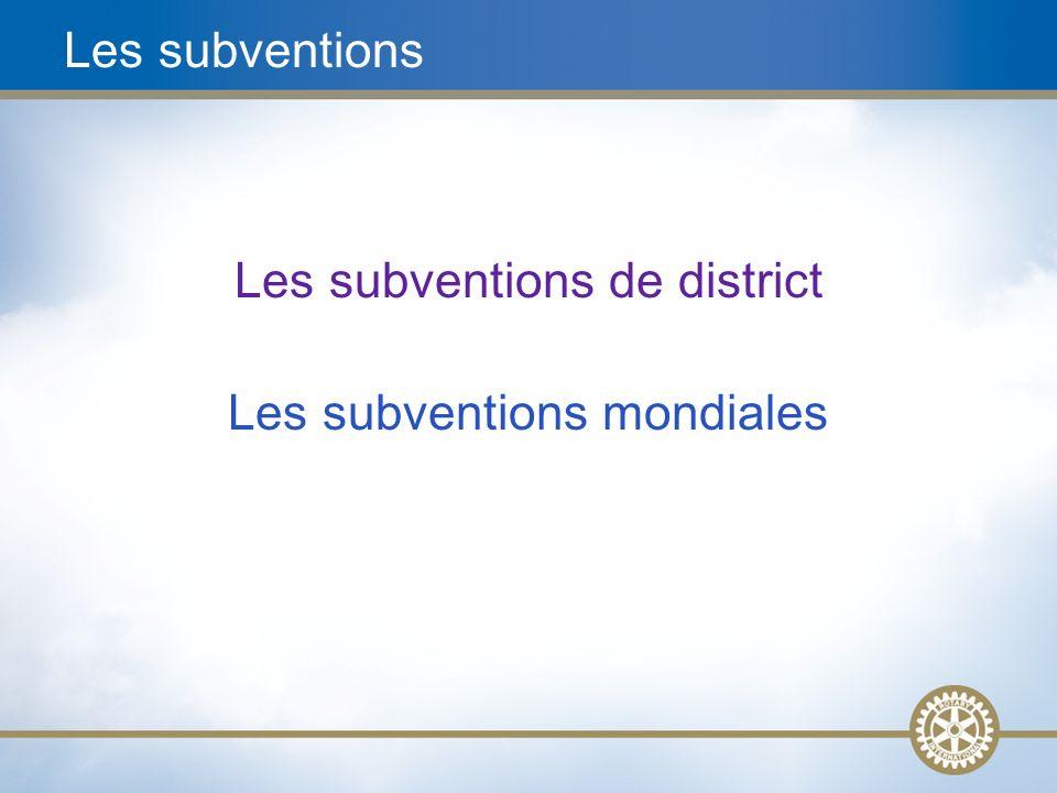 9 Les subventions de district Simples, souples et novatrices Actions/activités éducatives et humanitaires en rapport avec notre mission Actions/activités de petite envergure Prise de décision locale avec des directives moins strictes