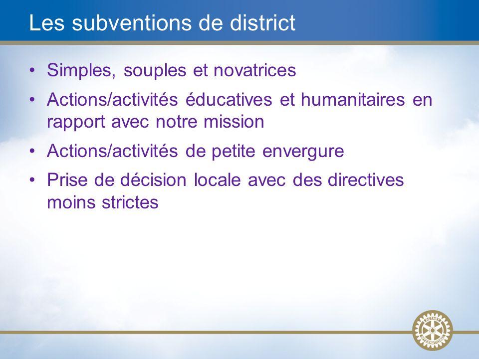 10 Subventions de district Rotariens Entités rotariennes Org./ONG partenaires District certifié Impact Collectivités locales et à létranger Débloque les fonds Subv.