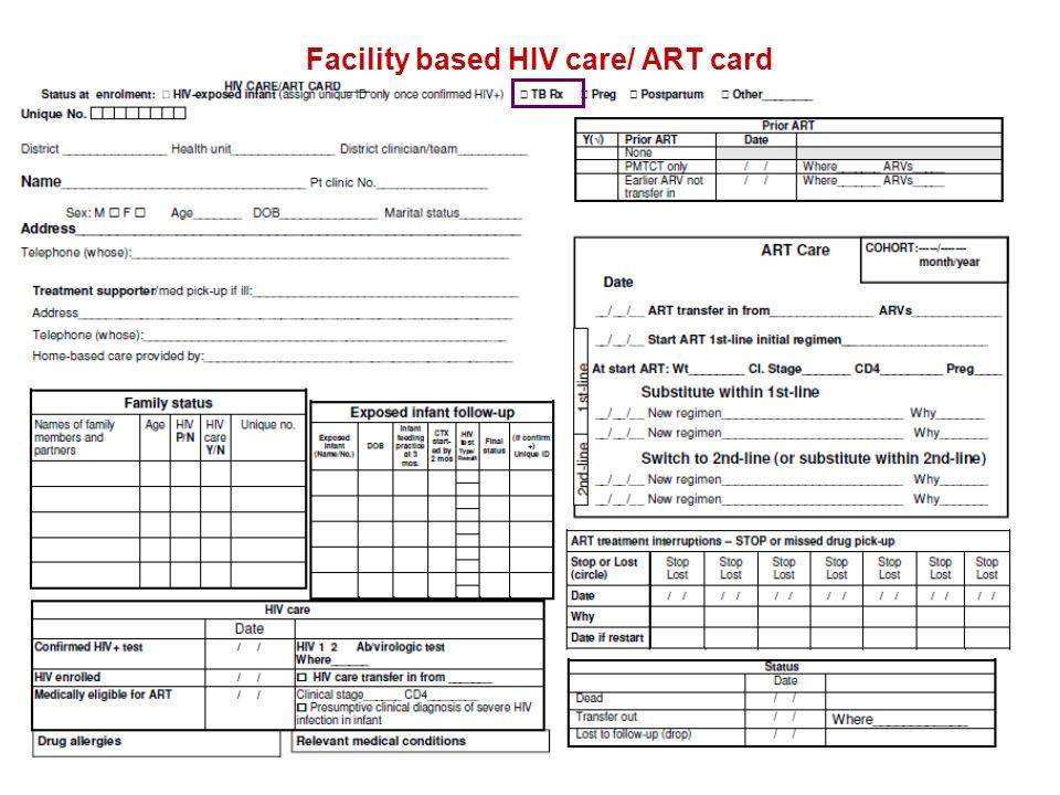 Facility based HIV care/ ART card