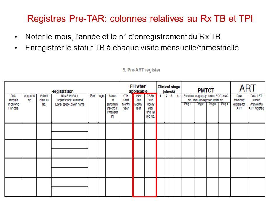 Registres Pre-TAR: colonnes relatives au Rx TB et TPI Noter le mois, l'année et le n° d'enregistrement du Rx TB Enregistrer le statut TB à chaque visi