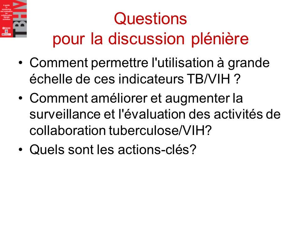 Questions pour la discussion plénière Comment permettre l'utilisation à grande échelle de ces indicateurs TB/VIH ? Comment améliorer et augmenter la s