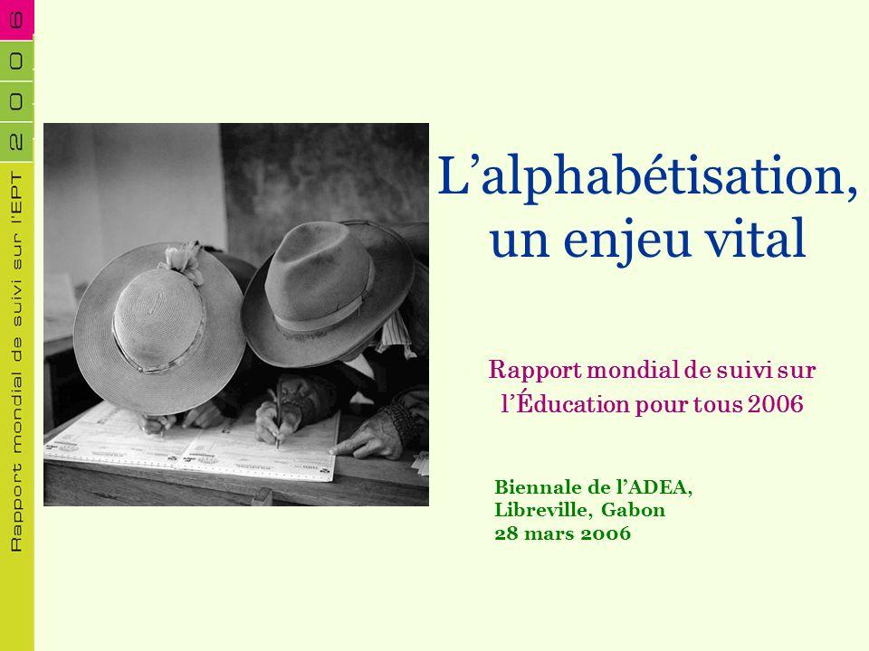 Lalphabétisation, un enjeu vital Rapport mondial de suivi sur lÉducation pour tous 2006 Biennale de lADEA, Libreville, Gabon 28 mars 2006