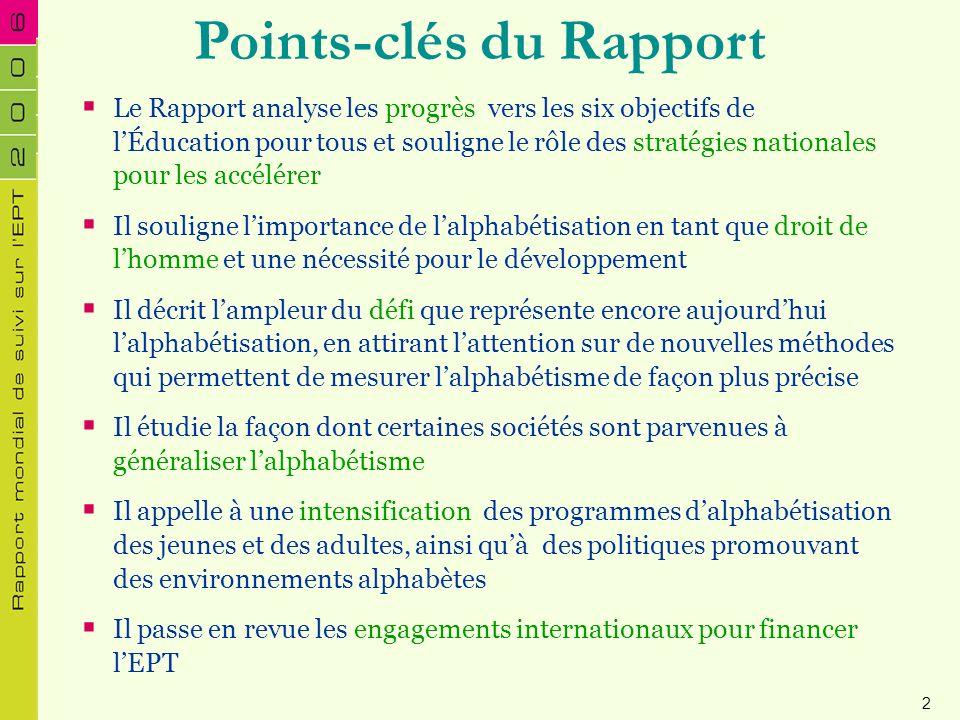 Points-clés du Rapport Le Rapport analyse les progrès vers les six objectifs de lÉducation pour tous et souligne le rôle des stratégies nationales pou