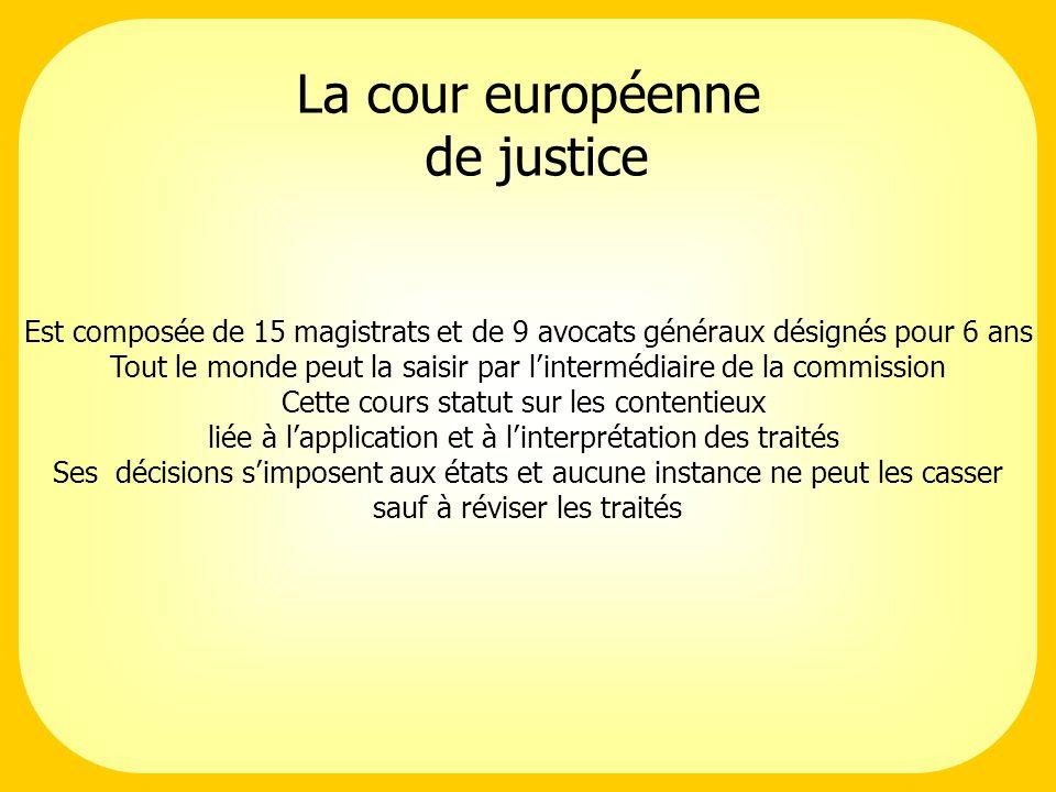 La cour européenne de justice Est composée de 15 magistrats et de 9 avocats généraux désignés pour 6 ans Tout le monde peut la saisir par lintermédiai