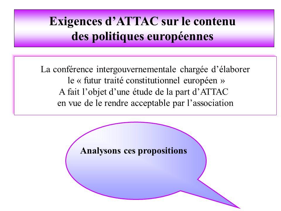 La conférence intergouvernementale chargée délaborer le « futur traité constitutionnel européen » A fait lobjet dune étude de la part dATTAC en vue de le rendre acceptable par lassociation Analysons ces propositions Exigences dATTAC sur le contenu des politiques européennes