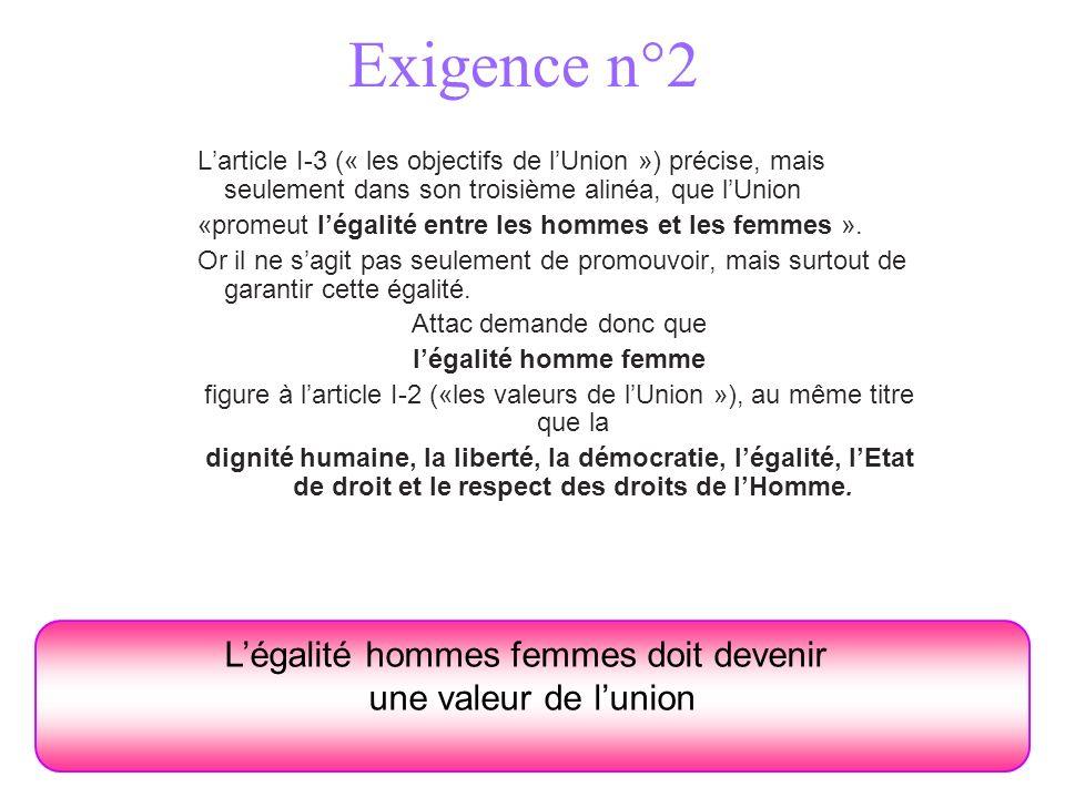 Exigence n°2 Larticle I-3 (« les objectifs de lUnion ») précise, mais seulement dans son troisième alinéa, que lUnion «promeut légalité entre les homm