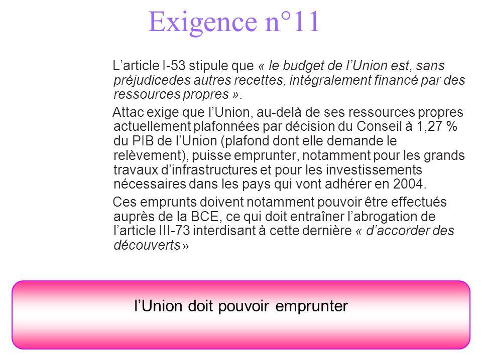 Exigence n°11 Larticle I-53 stipule que « le budget de lUnion est, sans préjudicedes autres recettes, intégralement financé par des ressources propres ».
