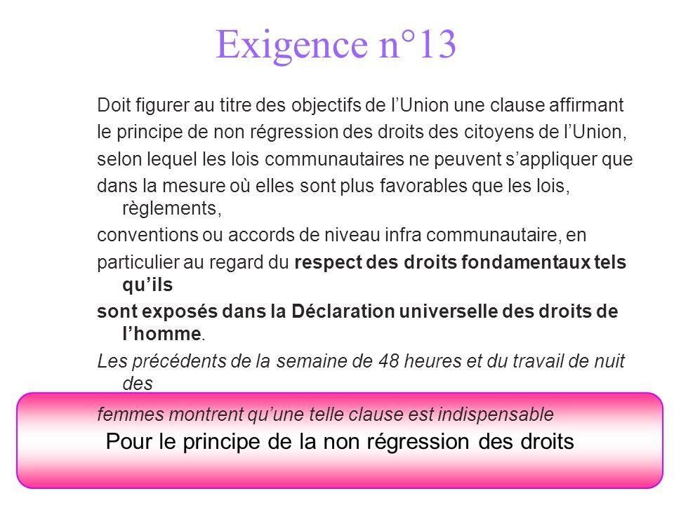 Exigence n°13 Pour le principe de la non régression des droits Doit figurer au titre des objectifs de lUnion une clause affirmant le principe de non r