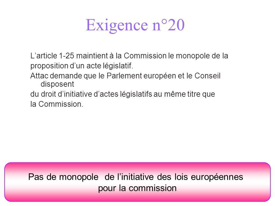 Exigence n°20 Pas de monopole de linitiative des lois européennes pour la commission Larticle 1-25 maintient à la Commission le monopole de la proposi