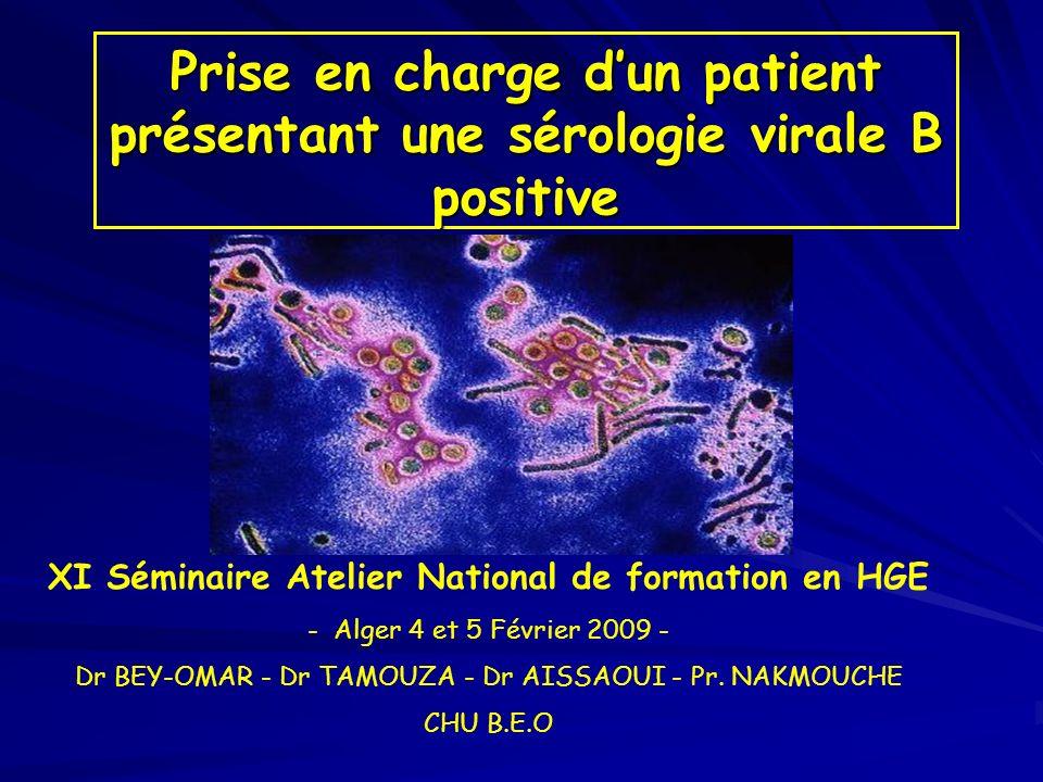 Prise en charge dun patient présentant une sérologie virale B positive XI Séminaire Atelier National de formation en HGE - Alger 4 et 5 Février 2009 -