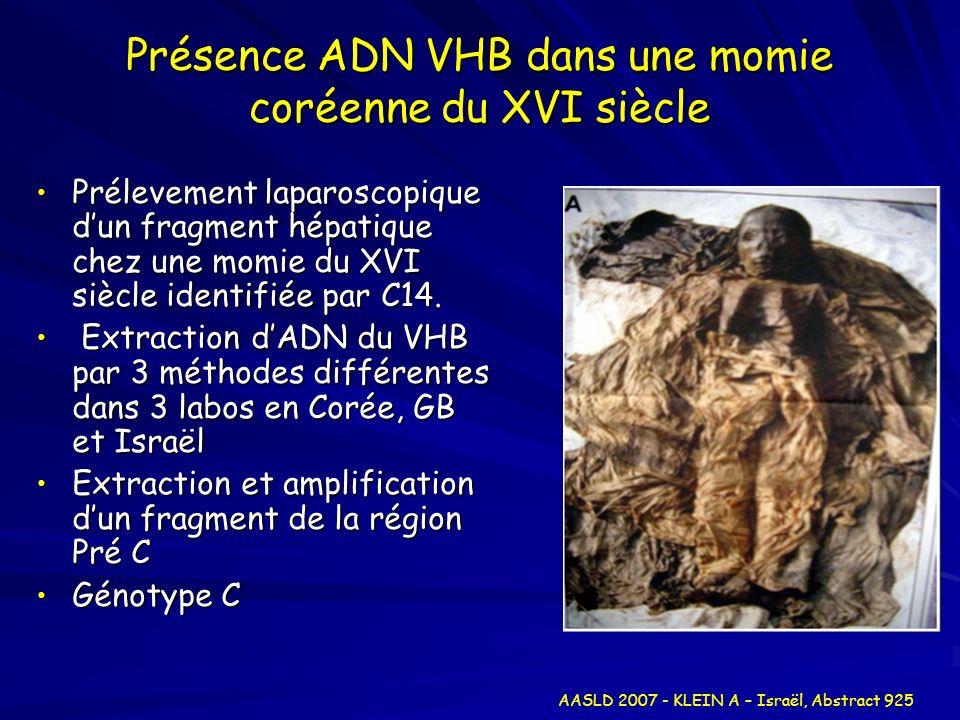 Présence ADN VHB dans une momie coréenne du XVI siècle Prélevement laparoscopique dun fragment hépatique chez une momie du XVI siècle identifiée par C