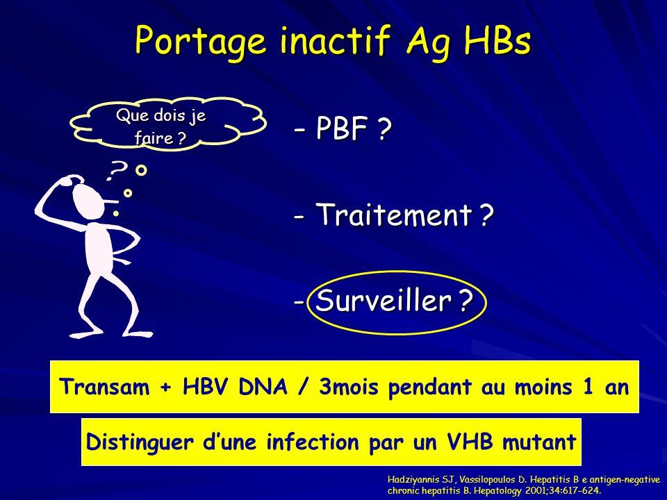 Portage inactif Ag HBs - PBF ? - Traitement ? - Surveiller ? Que dois je faire ? Transam + HBV DNA / 3mois pendant au moins 1 an Distinguer dune infec