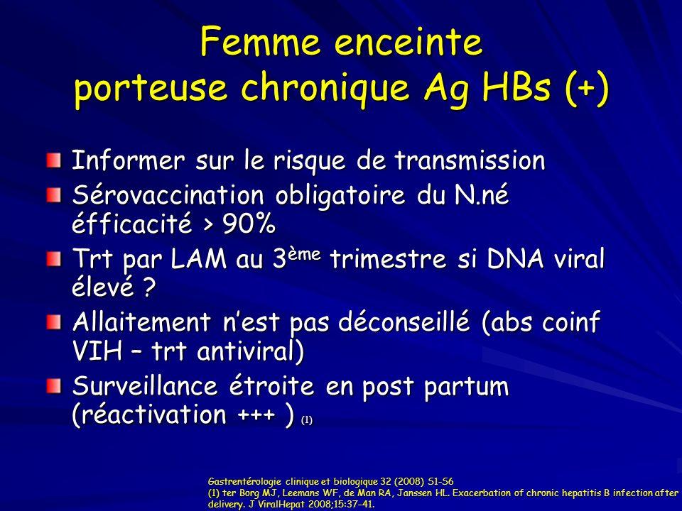 Femme enceinte porteuse chronique Ag HBs (+) Informer sur le risque de transmission Sérovaccination obligatoire du N.né éfficacité > 90% Trt par LAM a