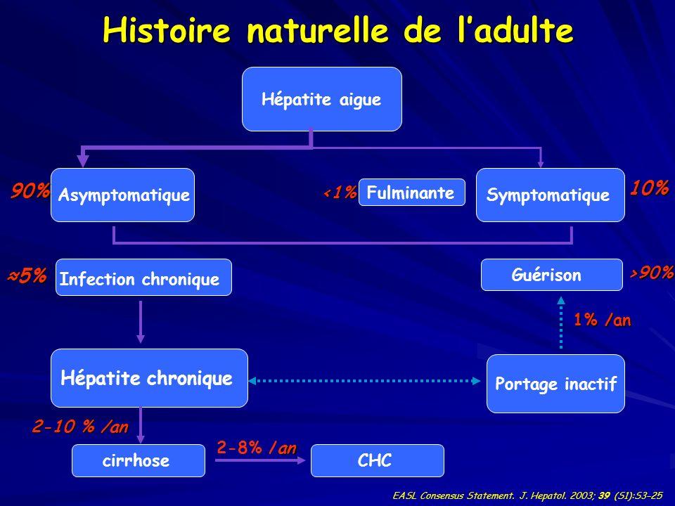 Histoire naturelle de ladulte Hépatite aigue Asymptomatique Fulminante Symptomatique cirrhose Hépatite chronique Infection chronique Guérison Portage