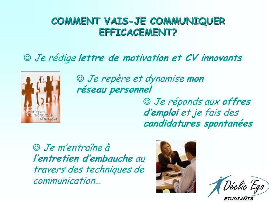 COMMENT VAIS-JE COMMUNIQUER EFFICACEMENT.