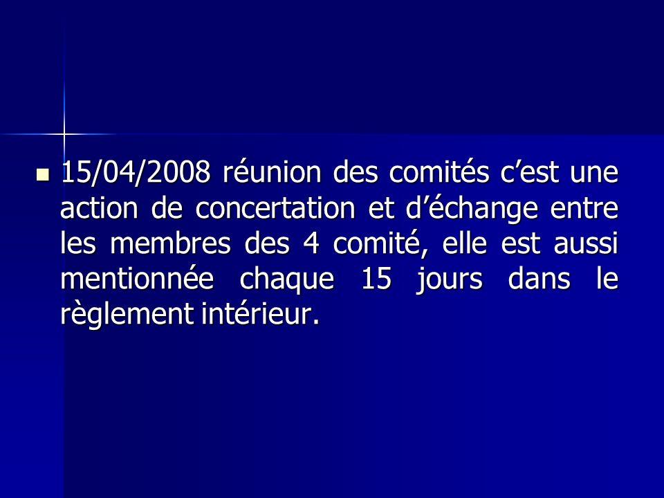 15/04/2008 réunion des comités cest une action de concertation et déchange entre les membres des 4 comité, elle est aussi mentionnée chaque 15 jours dans le règlement intérieur.
