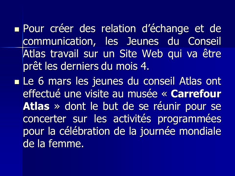 Pour créer des relation déchange et de communication, les Jeunes du Conseil Atlas travail sur un Site Web qui va être prêt les derniers du mois 4.