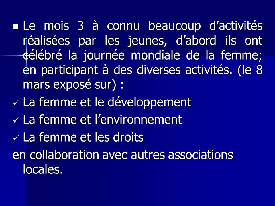 Le mois 3 à connu beaucoup dactivités réalisées par les jeunes, dabord ils ont célébré la journée mondiale de la femme; en participant à des diverses activités.