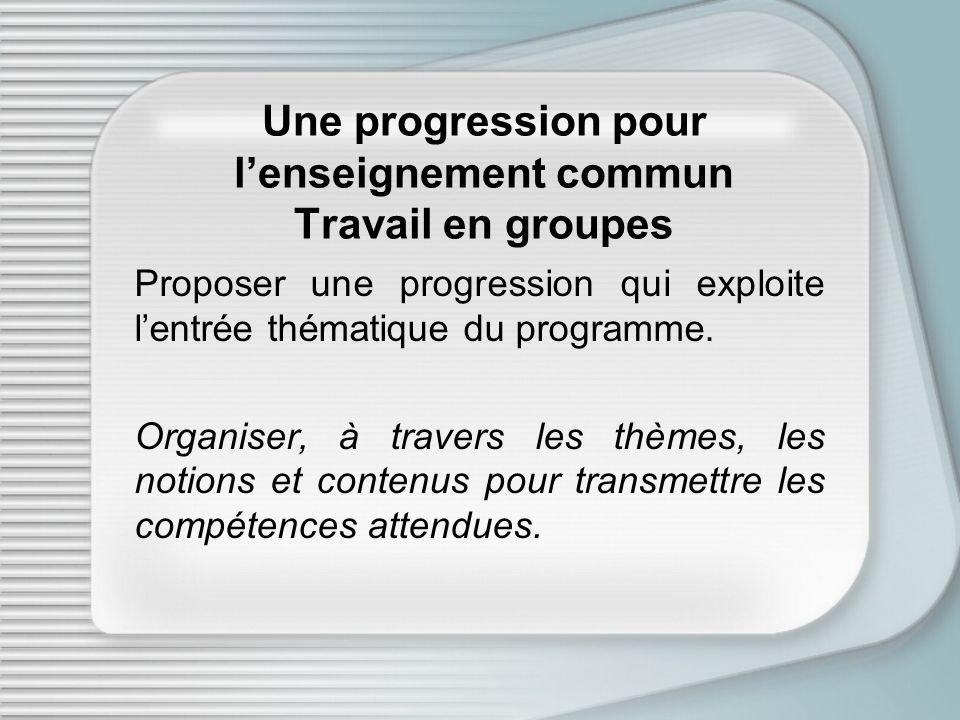 Une progression pour lenseignement commun Travail en groupes Proposer une progression qui exploite lentrée thématique du programme. Organiser, à trave